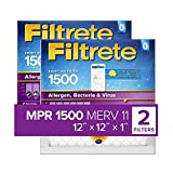 Filtrete 12x12x1 Smart Replenishable AC Furnace Air Filter, MPR 1500, Allergen, Bacteria & Virus, 2-Pack (exact dimensions 11.84 x 11.84 x 1)