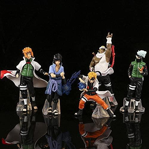 YDDM Naruto 5pcs Anime Figures Uzumaki Naruto Hatake Kakashi Uchiha Sasuke Model Statue Anime Toys PVC Collection Collection Doll Toy Gift