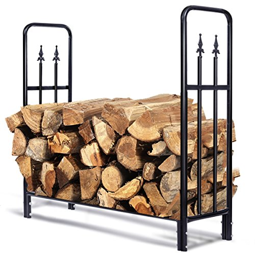 Goplus Firewood Log Rack Indoor Outdoor Fireplace Storage Holder Logs Heavy Duty Steel Wood Stacking Holder Kindling Wood Stove Accessories Tools Accessories (4 Feet)