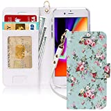 """FYY Case for iPhone 8/iPhone 7/iPhone SE (2nd) 2020 4.7""""[Kickstand Feature] Luxury PU Leather Wallet Case Flip Folio Cover with [Card Slots][Wrist Strap] for iPhone 8/7/SE (2nd) 2020 4.7"""" Blossom"""