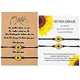 4 Stück Sonnenblumen Bracelet für Frauen Mädchen Gänseblümchen Boho Freundschaftsarmband, Freundschaft Langstrecken Bettelarmband Sunflower Bracelet für Freunde