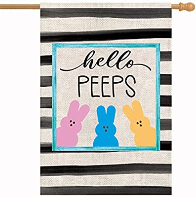 Happy Easter Hello Peeps Spring Summer Garden Flag Holiday Bunny Rabbit Vertical Burlap Double Sided 28 x 40 Inches Rustic Farmhouse Outdoor Decorations Yard House Decor