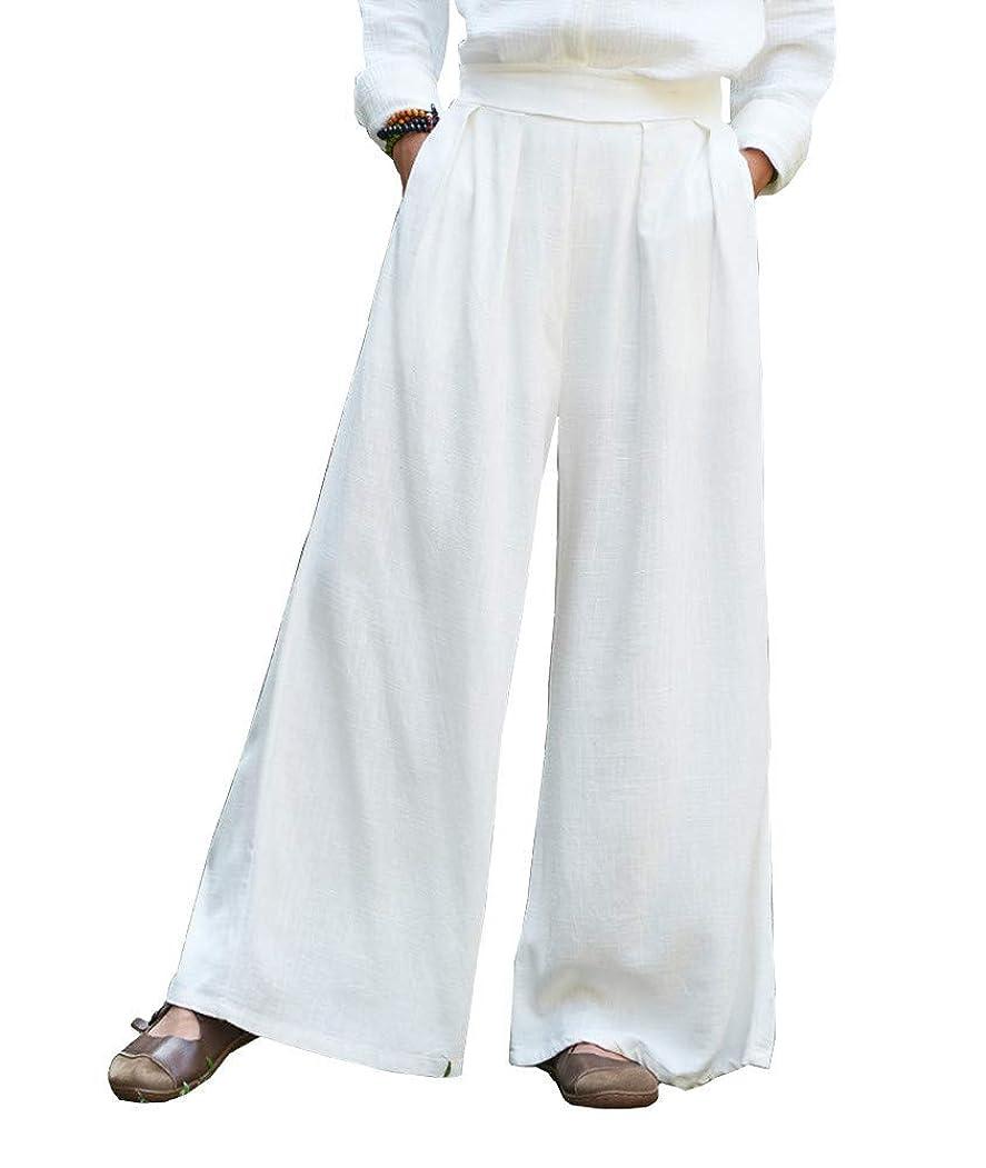 テクスチャー解明寂しいレディース 綿麻パンツ キュロットワイド パンツ ゆったり 長ズボン 上質 コーディネート自由自在シンプル ズボン ロング 無地 ゆったり ポケット付き フリーサイズ