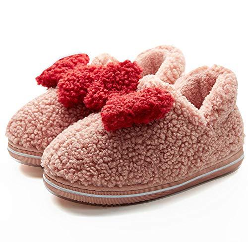 XZDNYDHGX Zapatillas de Estar por Casa para Hombre Mujer,Zapatos de algodón para Mujer Zapatos cómodos de algodón para Interiores, Antideslizantes para el hogar Bolsa Tacón SEU la Suave Rosa EU 38-39
