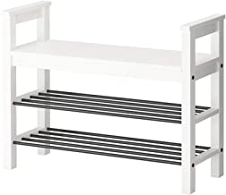 Household Wooden Shoe Bench White 3 Tier Simple Modern Storage Rack Hallway Versatile Organiser Shelves Seat Surface