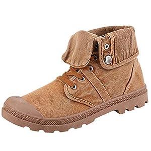 YWLINK Botas Altas De Los Hombres Zapatos De Lona Botas Inferiores Gruesas Botines Zapatos De PuñO TamañO Grande Antideslizante Transpirable Moda Casual Zapatillas De Deporte Regalo(Amarillo,40EU)