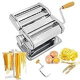 Seahelms Máquina para hacer pasta con estante de fideos, máquina de fabricación de fideos hecha a mano de acero inoxidable...