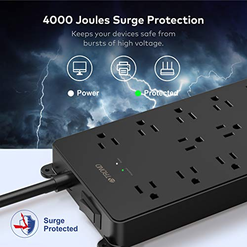 TROND USB C Power Strip Surge Protector, 13AC Widely-Spaced Outlets Expansion with 4 USB Ports, 18W Quick Charge 3.0 & USB C Power Delivery, 4000 Joules, Flat Plug, 5ft Long Extension Cord, Wall Mount 2