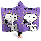 LIUYAN Fleece Hooded Blanket Thank You Snoopy Throw Blanket for Adults Men Women Girls Boys Kids 50'x40'