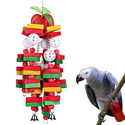 coil.c Papageienspielzeug Kauspielzeug Spielzeug Hängen Bunte Biss, Vögel Spielzeug Holz, Bunte Holzklotzschnur Holzblöcke, Geeignet Für Papageien, Sittiche, Aras, Graupapageien