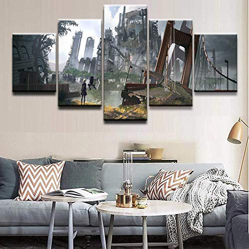 WRZWRM Modern HD Prints Painting Home Decor Canvas Pictures 5 Pieces NieR Automata Building Poster Living Room Wall Art-16x24/32/40inch,Without frame