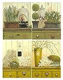 Cuadro Madera Plantas tonalidades Amarillas/Verde Set de 4 Unidades de 19 cm x 25 cm x 4 mm unid. Adhesivo FÁCIL COLGADO. Adorno Ideal para Hogar/Cocina/Baño/Regalo