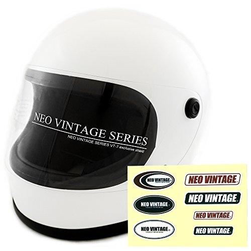 NEO VINTAGE レトロ族ヘルタイプ フルフェイス SG規格品 ステッカー付 [ホワイト×クリアシールド 白 Mサイズ:57-58cm対応] VT-7 バイクヘルメット