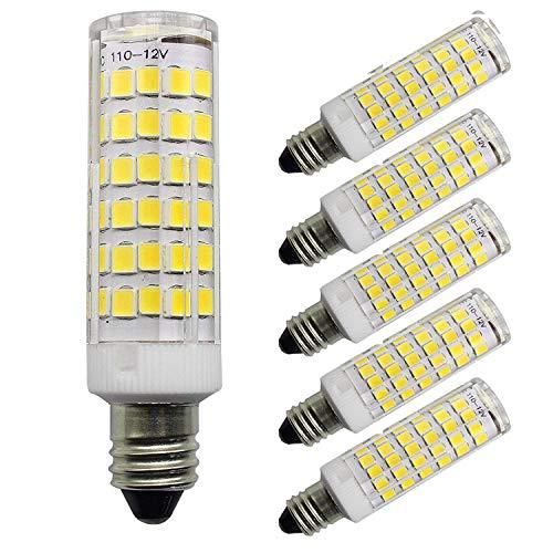 All-New LED E11 Bulb, Dimmable JD E11 Candelabra Base Bulbs, 50W-75W Equivalent 650LM, 120V 6w Candelabra Bulbs 2835SMD (5-Pack) (Daylight White)