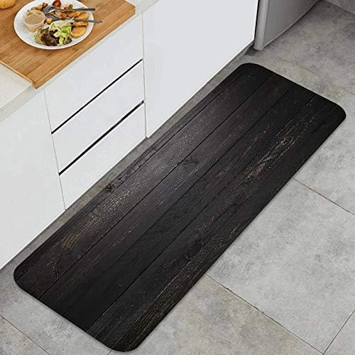 AndrewTop Cocina Antideslizante Alfombras de pie Fondo de Textura de Mesa de Madera Negra Decoración de Piso Confortables para el hogar, Fregadero, lavandería-120cm x 45cm