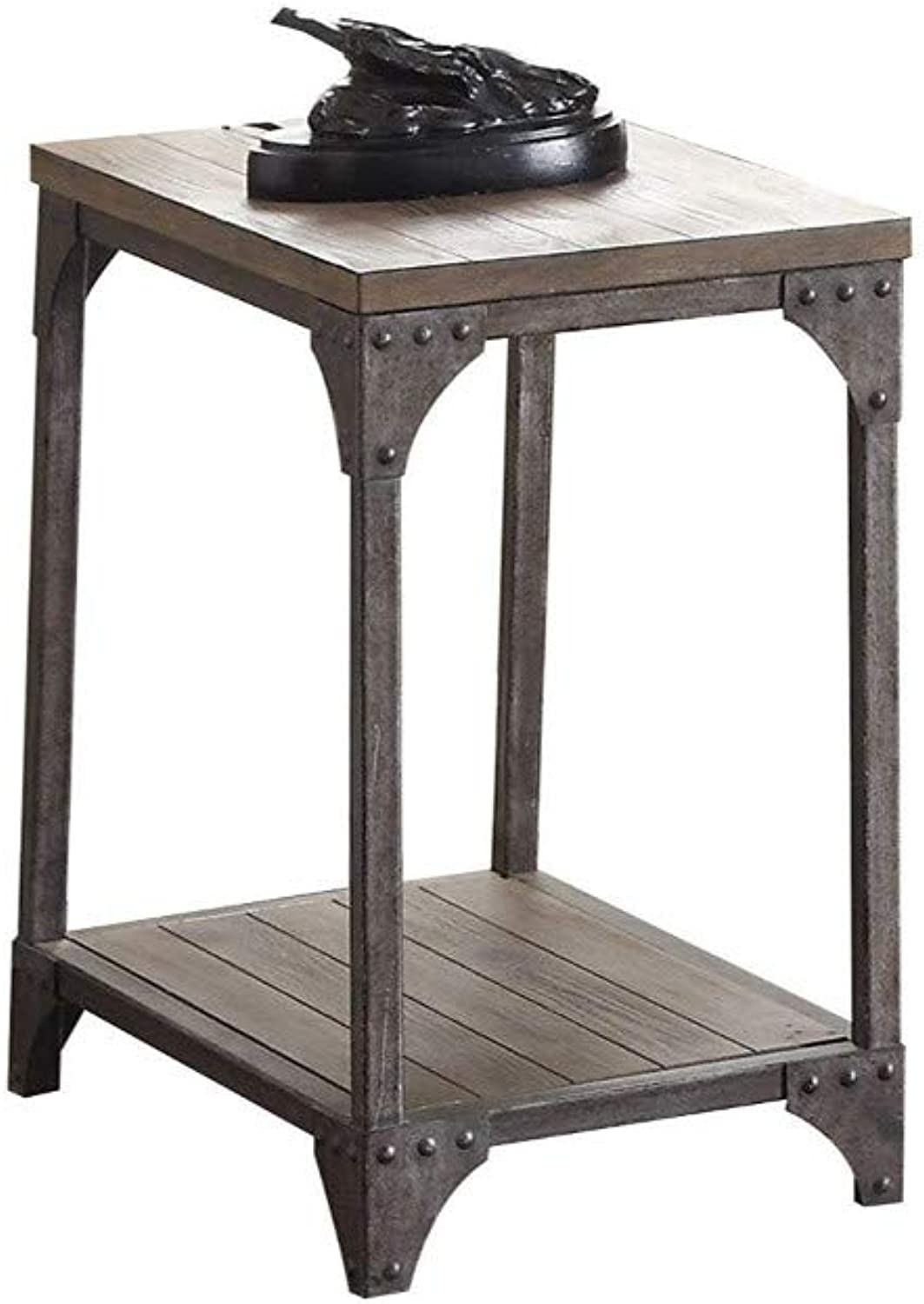 Benzara BM185772 Industrial Style End Table with Open Shelves, Brown