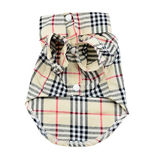 Brccee AC Pet Fashion Plaid Pet Dog Clothes Shirt Size:L