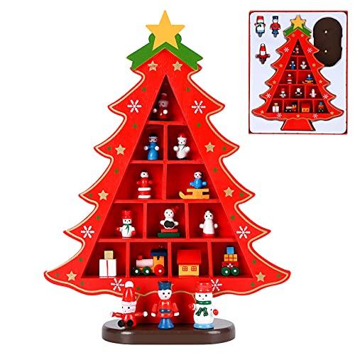 Legno Albero di Natale Piccola scrivania Albero di Natale con Ornamenti in Miniatura Tavolo Scrivania Fai da Te Mini Albero Decorazioni Natalizie per la casa Regalo dei Bambini Red