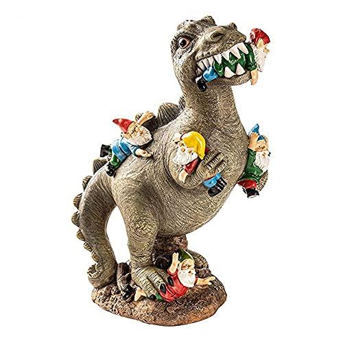 JAWSEU Dinosaur Statues Garden Ornament,Garden Gnome Massacre Resin figurine, Garden Ornaments Outdoor for Yard Lawn Home Decoration,Landscaping Yard Decoration, Birthday Gift (L)