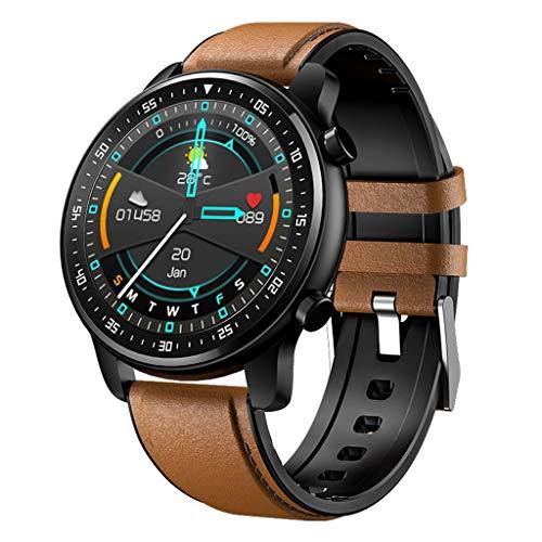 APCHY Business Smart Watch,Monitores de Actividad 1.28 Llamada De Bluetooth,Reproducción De Música Local, Pulsera De Pantalla Redonda, Reloj De Tasa De Ritmo Cardíaco Saludable,Marrón