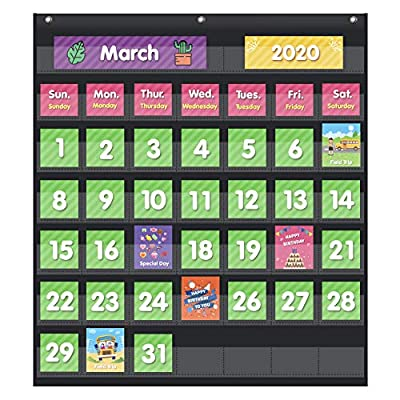 Eamay Classroom Monthly Calendar Pocket Chart with 71 Cards for Kids Learning for Home(Black)