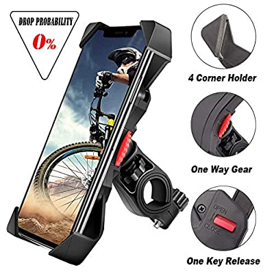 visnfa Bike Phone Mount Anti Shake and Stable Cradle Clamp with 360° Rotation Bicycle Phone Mount/Bike Accessories/Bike Phone Holder for iPhone Android GPS Other Devices Between 3.5 to 6.5 inches by visnfa