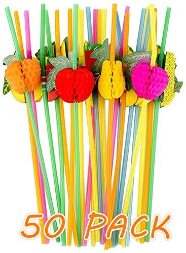 Tweal Pajas Decoración de Cóctel,50 Pack 3D Frutas Pajitas Plástico para Cocktail Bebidas Tropicales Fiesta de Cumpleaños Celebración Bodas