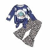Traje de Halloween para niña pequeña, Camiseta de Manga Larga con Volantes de Calabaza + Pantalones con Estampado de Llamarada Conjunto de Ropa de 2 Piezas (#4-Leopard, 3-4T)