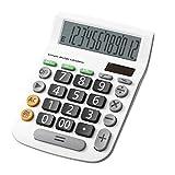 Calculatrice, Fonction Standard Calculateur de Bureau avec 12 Chiffres (Pile Bouton) Calculatrices Blanc