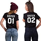 Couples Shop BFF Best Friends Mujer Niñas T-Shirt Pareja Sister - 1x Camiseta Sister 01 Negro M