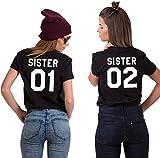 Couples Shop BFF Best Friends Mujer Niñas T-Shirt Pareja Sister - 1x Camiseta Sister 02 Negro S