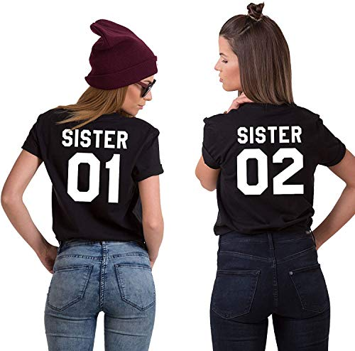 Couples Shop BFF Best Friends Mujer Niñas T-Shirt Pareja Sister - 1x Camiseta Sister 02 Negro S