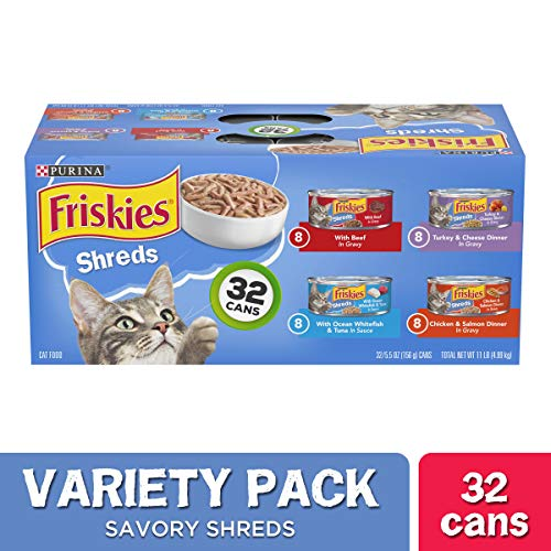 Purina Friskies Gravy Wet Cat Food Variety Pack, Savory Shreds - (32) 5.5 oz. Cans