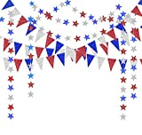 Decor365 Red Blue White/Silver Star Garland Triangle Pennant Banner Kit 4th/Fourth of July USA America Independent Day Celebration Decor Party Hanging Decoration for Bithday/Wedding/Home/Cavinal/Home