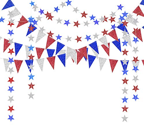 Decor365 Red Blue White/Silver Star Garland Triangle Pennant Banner Kit 4th/Fourth of July USA...