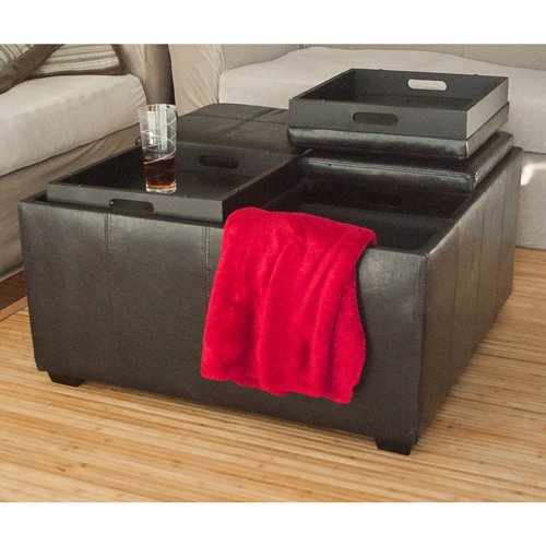 Best Choice Products Leather Ottoman with 4 Tray Tops Storage Bench Coffee Table Leather New
