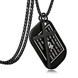 Jstyle Stainless Steel Dog Tags Cross Necklaces for Men Prayer Cross Necklace Military Rolo Chain 3mm 24 Inch Black Serenity Prayer