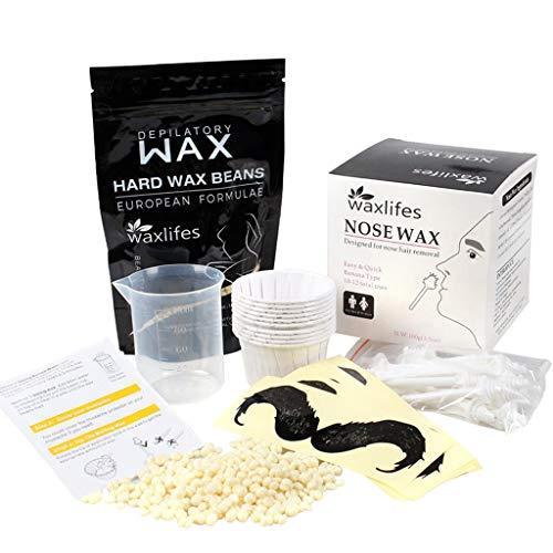 Sharplace Kit de Cera de Nariz Profesional Suave Pero Indoloro para La Piel para Hombres, Cejas, Nariz Facial