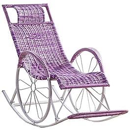 DFANCE Chaise à Bascule légère en rotin, Chaise Longue Sun Chaise relaxante inclinable pour Jardin Patio Pelouse Beach…