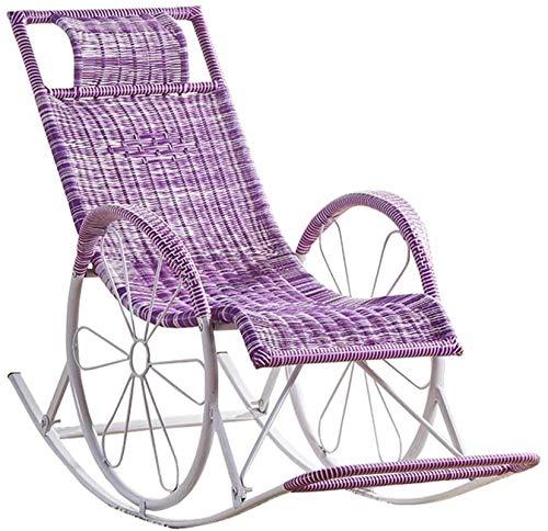 Leichter Schaukelstuhl aus Rattan, Liegestuhl Sun Lounge Chair Liegestuhl für Gartenterrasse Lawn Deck Beach Relax Schaukelstuhl, Schwerelosigkeitsstuhl mit Fuß