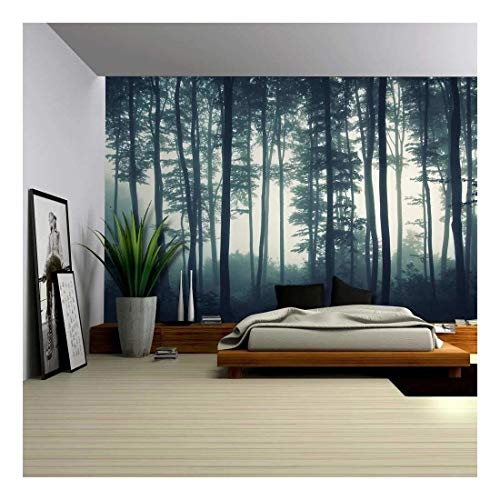 wall26 - Landscape Mural of a Misty Forest - Wall Mural, Removable Sticker, Home Decor - 100x144 inches