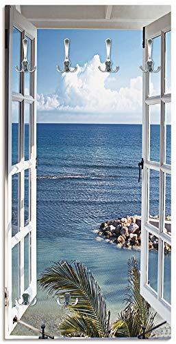 Artland Wandgarderobe Holz Design mit 6 Haken Garderobe mit Motiv 60x120 cm Landschaft Fensterblick Strand Küste Meer Himmel Blau T9II