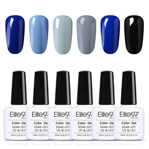 Elite99 Esmaltes Semipermanentes de Uñas en Gel UV LED, 6 Colores de Tono de Classic Blue, Kit de Esmaltes de Uñas 10ml 001