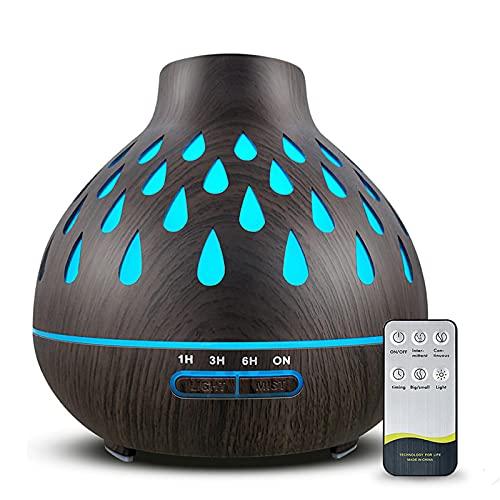 Aroma Diffuser 500ml, Raumbefeuchter, 7-Farben LED Lichter und 4 Timer-Einstellungen, Diffusor für ätherische Öle Großem Nebel Diffusor für Schlafzimmer Raum Büro