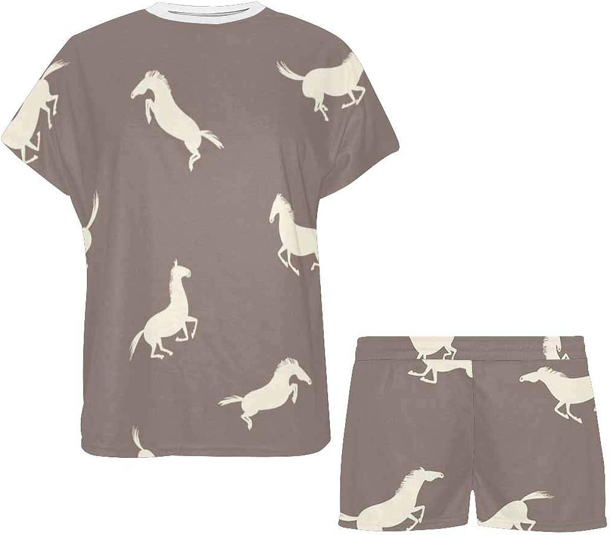 InterestPrint Pattern with Active Horses Women's Breathable 2 Piece Shorts Pajama Sleepwear Set