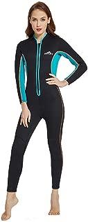 WoCoo Womens Full Body Zipper Wetsuit Lycra UV Protection Dive Skin Suit Scuba Diving Suit