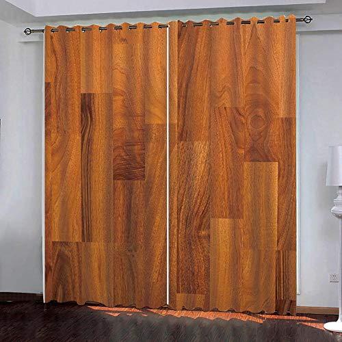 SUZIHUA Verdunkelungsvorhang 3D Brauner Boden Massiver Vorhang Isolierung Fensterdekoration Öse Wohnzimmer...