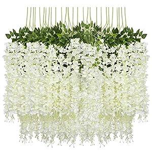 DETOAM 12pc (43.2 FT) Artificial Wisteria Vine Fake Wisteria Hanging Garland Silk Long Hanging Bush Flowers String Home Party Weddin (Color : White)