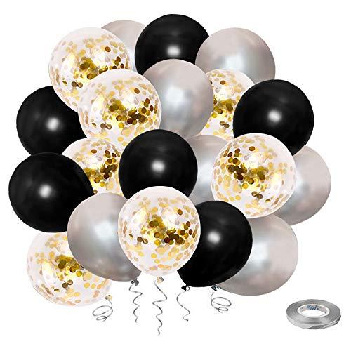 Globos de Confeti Negros y Dorados, paquete de 50 Globos plateados, Globos de Látex de 12 pulgadas para Fiestas de Cumpleaños, Graduación, Bodas, Decoración con Cinta Plateada