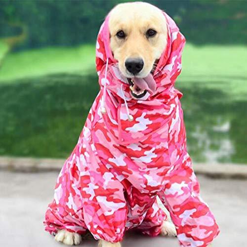 SUIWO Hunderegenbekleidung Regen Anzug leichte wasserdichte Regenjacke Getriebe mit Lüftungs Hut Gehen Small Medium Größe Large Pet Haltbarkeit Komfortabler Außen (Color : Colr+pink, Size : 14)